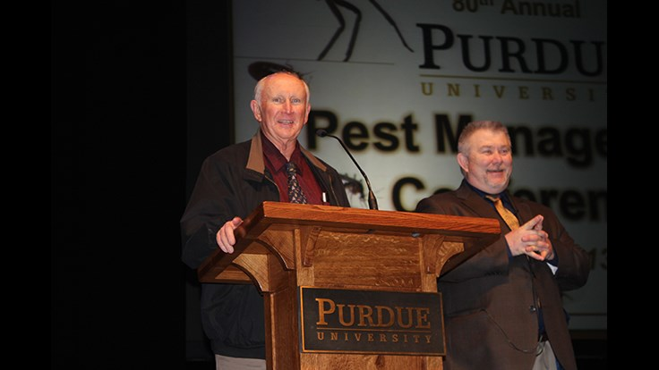 Pictured is Purdue's Gary Bannett and Dale Hodgson of Rose Pest Solutions