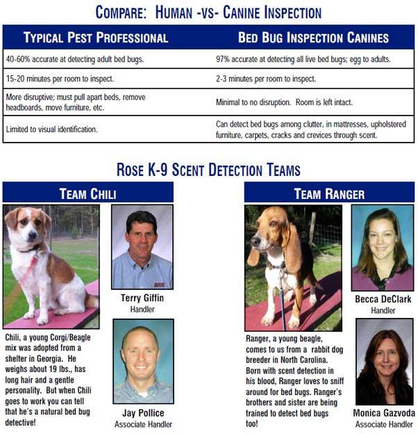 canine bed bug detection team